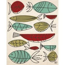 "Creative Gallery Retro Fish Swarm in Mint, Olive Rust 20"" x 16"" Canvas Wall Art Print"