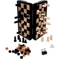 "Classic Game Collection - 8"" Magnetic Dark Wood 3 in 1 Game Set"