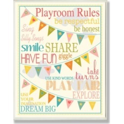 """Stupell Industries Home Decor Playroom Rules with Pennants In Pink Wall Plaque Art, 12.5"""" x 18.5"""""""