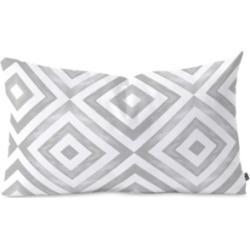 Deny Designs Little Arrow Design Co watercolor diamonds in grey Oblong Throw Pillow