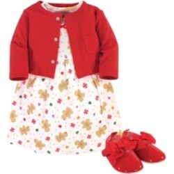 Hudson Baby Baby Girls Sugar Spice Dress, Cardigan and Shoe Set, Pack of 3