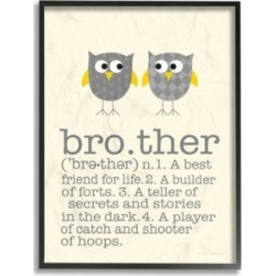 "Stupell Industries Home Decor Definition Of Brother with Two Gray Owls Framed Giclee Art, 16"" x 20"""