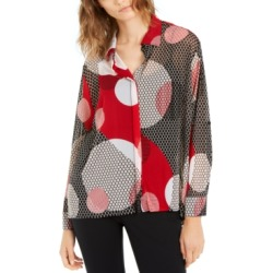 Alfani Printed High-Low Button-Up Shirt, Created For Macy's