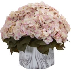 Nearly Natural Fall Hydrangea Artificial Plant in Marble Finished Vase