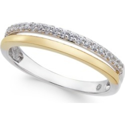 Diamond Two-Tone Band (1/8 ct. t.w.) in 14K White and Rose Gold, or 14K White Gold and Gold found on Bargain Bro India from Macy's for $520.00