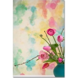 Cora Niele 'Pink Flowers In Turqoise Vase' Canvas Art - 32