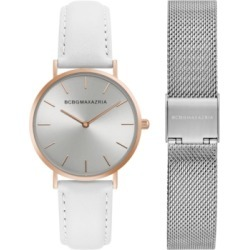 Bcbgmaxazria Ladies Watch Box Set with White Leather Strap and Silver Mesh Bracelet, 36mm found on Bargain Bro India from Macy's Australia for $101.99
