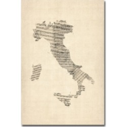 "Michael Tompsett 'Italy - Old Sheet Music Map' Canvas Art - 47"" x 30"""