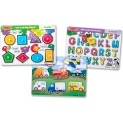 Melissa and Doug Peg Puzzle Bundle - Alphabet, Vehicles, Shapes