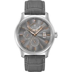 Bulova Men's Automatic Wilton Gray Leather Strap Watch 43mm