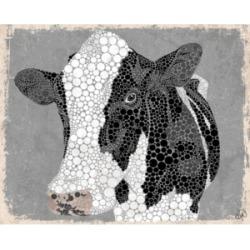 "Creative Gallery Dottie the Cow on Grey 20"" x 16"" Canvas Wall Art Print"
