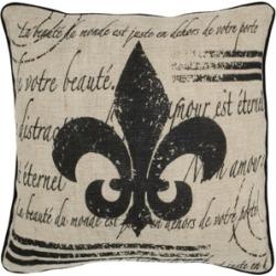 """Rizzy Home 18"""" x 18"""" Fleur de Lis with Script Pillow Cover"""