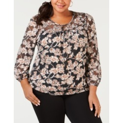Ny Collection Plus Size Printed Peasant Top found on Bargain Bro India from Macys CA for $25.64