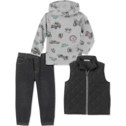 Kids Headquarters Little Boys 3-Pc. Quilted Full-Zip Vest, Racing-Print Hooded T-Shirt & Denim Jogger Pants Set found on Bargain Bro Philippines from Macys CA for $67.41