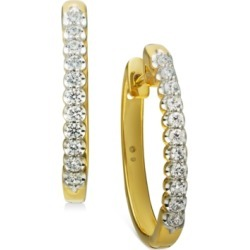 """Diamond Small Hoop Earrings (1/2 ct. t.w.) in 10k White Gold (Also available in 10k Yellow Gold), .95"""""""