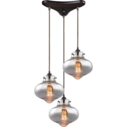 Kelsey 3 Light Pendant in Oil Rubbed Bronze and Mercury Glass