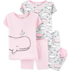 Carter's Baby Girls 4-Pc. Whales Cotton Pajamas Set