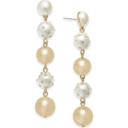 Inc Gold-Tone Pave & Imitation Pearl Linear Drop Earrings, Created for Macy's found on Bargain Bro Philippines from Macy's for $22.12