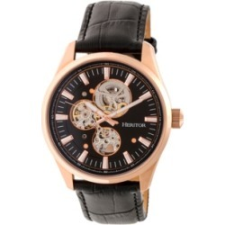 Heritor Automatic Stanley Rose Gold & Black Leather Watches 43mm found on Bargain Bro from Macys CA for USD $201.04