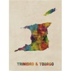 "Michael Tompsett Trinidad and Tobago Watercolor Map Canvas Art - 20"" x 25"""