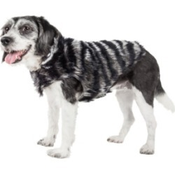 Pet Life Luxe 'Chauffurry' Beautiful Zebra Patterned Faux Fur Dog Coat Jacket