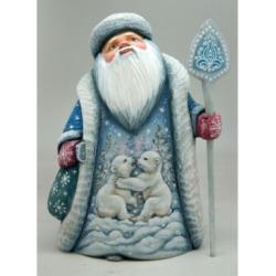 G.DeBrekht Woodcarved Playful Bears Santa Figurine