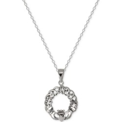 "Giani Bernini Claddagh Circle 18"" Pendant Necklace in Sterling Silver, Created For Macy's"