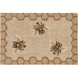 """Liora Manne Front Porch Indoor/Outdoor Honeycomb Bee Natural 2'6"""" x 4' Area Rug"""