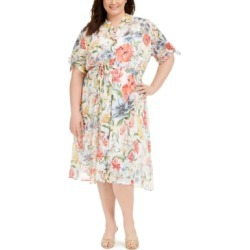 Calvin Klein Plus Size Floral-Print Shirtdress found on Bargain Bro India from Macy's for $99.99