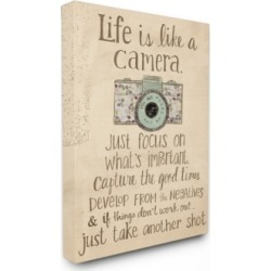 "Stupell Industries Home Decor Life is Like A Camera Inspirational Canvas Wall Art, 30"" x 40"""