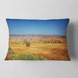 "Designart Prairie with Bright Blue Sky Landscape Printed Throw Pillow - 12"" x 20"""