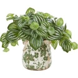 Nearly Natural Watermelon Peperomia Artificial Plant in Vase (Real Touch)