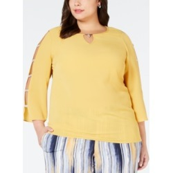 Jm Collection Plus Size Ladder-Sleeve Top, Created for Macy's found on Bargain Bro India from Macys CA for $33.75