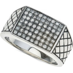 Esquire Men's Jewelry Diamond Cluster Ring (3/4 ct. t.w.) in Sterling Silver, Created for Macy's