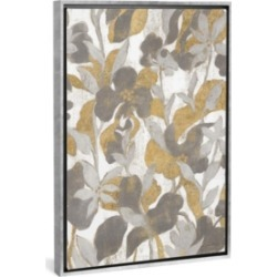 """iCanvas Painted Tropical Screen Ii Gray Gold by Silvia Vassileva Gallery-Wrapped Canvas Print - 26"""" x 18"""" x 0.75"""""""