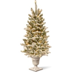 National Tree Company 4' Feel Real Snowy Sheffield Spruce Entrance Tree in Silver Brushed Urn with 70 Clear Lights