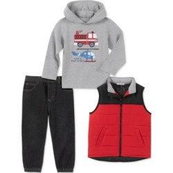 Kids Headquarters Toddler Boys 3-Pc. Red Nylon Vest, Gray Firetruck/Helicopter Jersey Hoodie & Black Denim Joggers Set found on Bargain Bro Philippines from Macys CA for $40.14