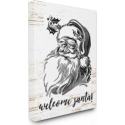 "Stupell Industries Christmas Welcome Santa Farmhouse Canvas Wall Art, 30"" x 40"""