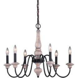 Vaxcel Georgetown Wood and Farmhouse 6 Light Chandelier