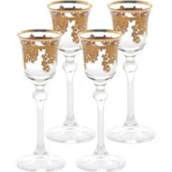 Lorren Home Trends Embellished 24K Gold Crystal Liquor Goblets - Set of 4
