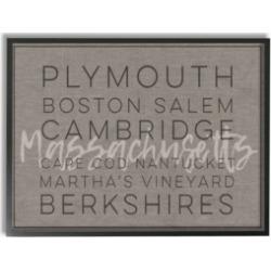 """Stupell Industries Massachusetts Berkshires Boston Salem Typography Framed Giclee Art, 16"""" x 20"""""""