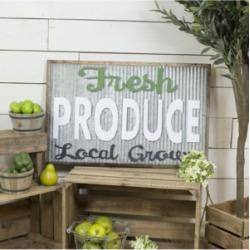 "Vip Home International Metal ""Fresh Produce"" Sign"