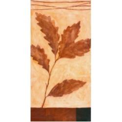 "Pablo Esteban Red Leaves on Beige Canvas Art - 36.5"" x 48"""