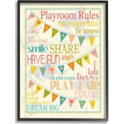 """Stupell Industries Home Decor Playroom Rules with Pennants In Pink Framed Giclee Art, 11"""" x 14"""""""