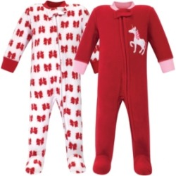 Hudson Baby Girl Fleece Sleep and Play 2 Pack