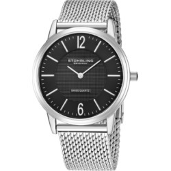 Stuhrling Original Stainless Steel Case on Mesh Bracelet, Black Dial, With Silver Accents found on Bargain Bro India from Macy's for $87.99