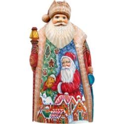 G.DeBrekht Woodcarved Gilding Light Santa Figurine