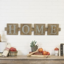 """Vip Home International Wood """"Home"""" Word Art with Metal Letters"""