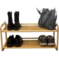 Hds Trading 2 Tier Slatted Shelf Bamboo Shoe Rack