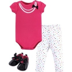 Little Treasure Baby Girl Bodysuit, Pants and Shoes Set